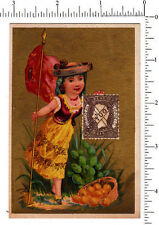 4039 Portugal stamp trade card Portuguese native dress national flag philatelic