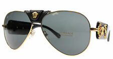 New Versace Sunglasses Men Aviator VE 2150Q Black 1002/87 VE2150Q 62mm