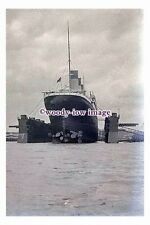 rp00387 - White Star Liner - Olympic in floating dock Southampton - photograph