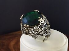 TURKISH HANDMADE OTTOMAN 925 STERLING SILVER EMERALD STONE LADY RING SIZE 7 US