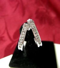 14K WHITE GOLD GENUINE 0.36 CTW DIAMOND PAVE HOOP STUDS EARRING 2.5 GRAMS