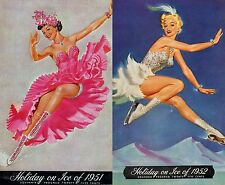 """2 VINTAGE HOLIDAY ON ICE PROGRAMS 1951 & 1952 - 8"""" X 11"""" - EXCELLENT CONDITON"""