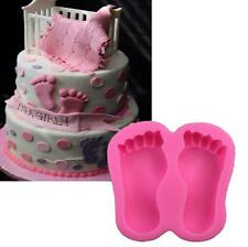 3D Baby Shower Feet Silicone Fondant Mould Cake Decor Sugar Gum Paste Icing Mold