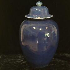 "Antique Chinese powder blue porcelain covered urn vase jar 18thC Qianlong 16"""