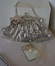 Vintage Whiting Davis Silver Tone Evening Bag Purse Comb Mirror Mesh