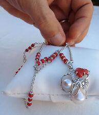 Collana in Argento 925 con perle e corallo - made in Italy