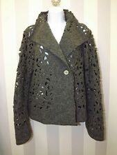 VERSE Cut Out Floral Wool FELTED Unusual Bohemian Harrods Waterfall Cardigan 12