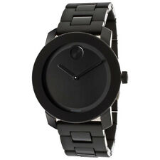 New Movado Bold Large Black Dial Black Bracelet Mens 42mm Watch 3600047