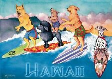 """Vintage Surf Art Surfing Dogs Hawaii A3 CANVAS PRINT Poster ~16"""" X 12"""""""
