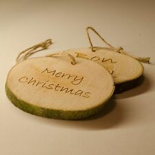 Log Slice Merry Christmas Tree Decoration, Hanging Wooden Ornament, Bon Noel.