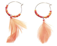 Exotic Orange Feather & Beads Embellished Flamboyant Hoop Earrings(Zx10/156/178)