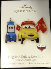 NIB 2008 HALLMARK 2 TREE ORNAMENTS DISNEY/PIXAR CARS LUIGI AND GUIDO: RACE FANS!