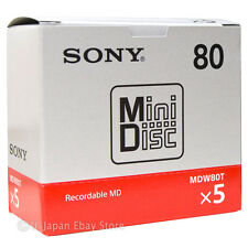 New! 5 Sony MD80 Blank Mini Disc 80 Minutes Recordable MD Japan Genuine