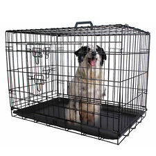 36'' 2 Doors Wire Folding Pet Crate Dog Cat Cage Suitcase Kennel Playpen w/ Tray