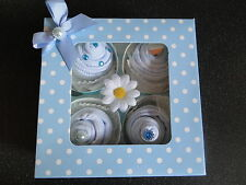 BABY BOY SOCK CUP CAKES GIFT. BABY SHOWER,MATERNITY LEAVE ,CHRISTENING