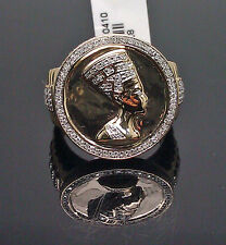 10K Yellow Gold Men's Ring With A Beautiful Queen Nefertiti Design