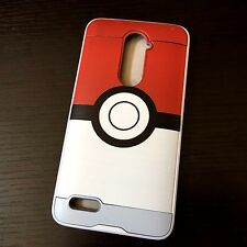 For ZTE ZMAX PRO Z981 - Hybrid Brushed Armor Skin Case Cover Red White Pokeball