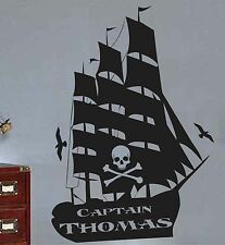 Pirate Ship with Custom Name Lettering,Kids Vinyl Wall Decal, Pirate Decor,