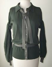 BALENCIAGA Grey Green Cardigan Tie Button Sweater Top 40 8