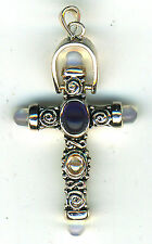 """925 Sterling Silver Cross Pendant  with Opalite & Citrine Stones   Length 2"""""""