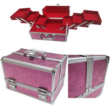 Pink Aluminium Rose Beauty Box Cosmetic Make Up Vanity Saloon Case Storage Bag