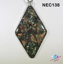 Green/Bronze Diamond Handmade Van Gogh Glass Mosaic Necklace under resin NEC138
