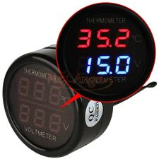 Classic 2 In 1 Car 12V Red Blue Dual Display LED Digital Thermometer Voltmeter