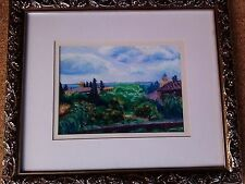"""Carol King Canton MS signed Pastel art painting picture """"Roof tops at Granada"""""""
