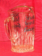 "VINTAGE ""SENIOR SERVISE SATISFY"" ADVERTIZING BAR WATER JUG c1960's PERFECT COND"