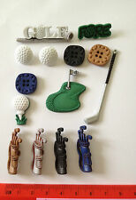 Novelty Dress It Up buttons - Multi-coloured golf clubs,putting green,  tee 415