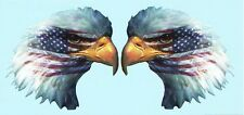 EAGLE HEAD WITH AMERICAN FLAG VINYL GRAPHIC DECAL/STICKER~LARGE FULL COLOR PAIR