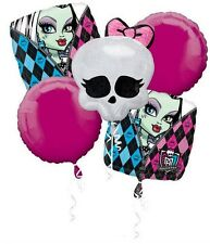 Monster High Birthday Party Favor Supplies 5CT Foil Balloons Bouquet
