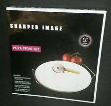 "Sharper Image 13"" Pizza Stone Set New Pizza Cutter Cooking Baking"