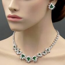 White Gold GP Emerald Cubic Zirconia CZ Wedding Necklace Earrings Jewelry Set 32