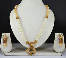 Indian Jewelry Bollywood New women Necklace Set Crystal Cz Gold Pendant Ethnic a