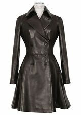 New Black Genuine Leather Coat Double Breasted Two Pockets Flare Fitted Women