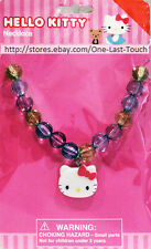 HELLO KITTY By SANRIO Necklace PURPLE+GREEN+BLUE BEADS With Charm KIDS (Carded)