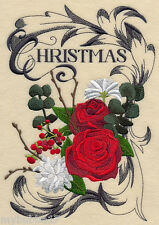 Christmas Boutique Christmas RoSE SET OF 2 BATH HAND TOWELS EMBROIDERED BY LAURA