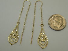 14k Solid Yellow Gold Fancy Threader Dangle Earrings S358