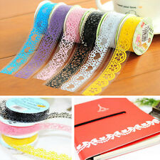 1pc White Hollow Lace Sticky Paper Adhesive Washi Tape Sticker Trim Wrap Tag