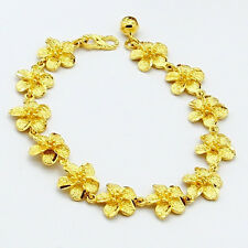 24K Yellow Gold Plated 12MM whole Rose Flower Chain Woman Bracelet  BH001