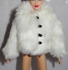 TOP ~MUSE BARBIE DOLL NATALIA VODIANOVA LOUIS VUITTON WHITE FAUX FUR COAT JACKET