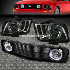 SMOKED HOUSING HEADLIGHT+FRONT GRILLE+HALO FOG LIGHT FOR 05-09 FORD MUSTANG/GT