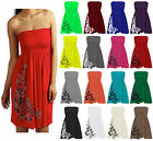 Womens Floral Glitter Swing Mini Dress Ladies Shirring Bandeau Boobtube Top 8-22