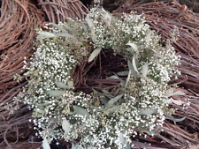 baby's breath & Eucalyptus Dried wreath, wedding, cottage decor, hand woven