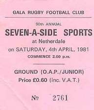 GALA SEVENS 4 Apr 1981 RUGBY TICKET WINNERS KELSO