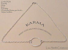 Silver Plated Karma Circle Of Life Eternity Unity Love Friendship Necklace