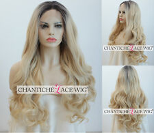 Ombre Blonde Wig Synthetic Hair Lace Front Wigs Long Natural Wavy Heat Friendly