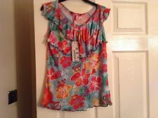 Miss sixty t shirt 14+ green multi in colour BNWT no sleeve v neck 2tier frill