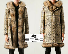 NEW ETRO JACQUARD DETACHABLE FUR RABBIT LINING RACCOON HOODED BEIGE COAT 44 - 8